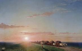Картинка масло, Холст, (1817-1900), Иван АЙВАЗОВСКИЙ, Обоз в степи