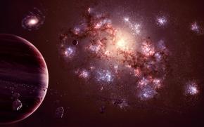 Обои universe, астероиды, galaxy, планета, спутник, газовый гигант