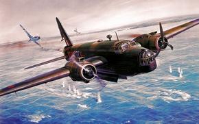 Картинка war, art, painting, aviation, ww2, Roy Cross, Vickers Wellington