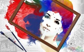 Картинка лицо, краски, акварель, кисточки