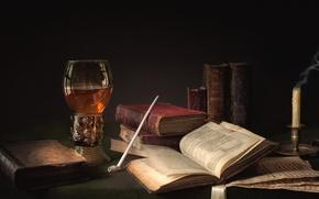 Картинка бокал, книги, свеча, трубка, натюрморт