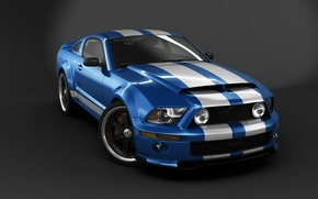 Обои Ford Mustang Shelby GT500, GT500, Shelby, supercar, speed, blue, sports, car, Mustang, bold design, American, ...