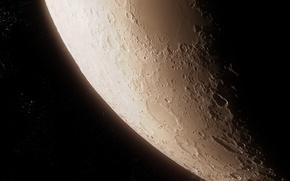 Картинка космос, звезды, поверхность, луна, спутник, кратеры
