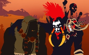 Картинка арт, братья, друзья, орк, world of warcraft, тролль, brothers, troll, friends, Тралл, ork, Орда, warchief, …