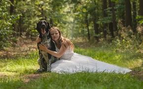 Картинка собака, девочка, платье, дружба, друзья, лес
