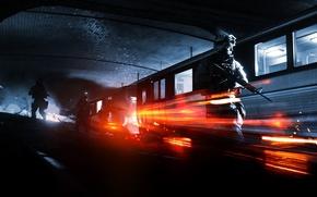 Картинка метро, поезд, солдаты, Battlefield 3