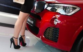 Картинка девушка, BMW, каблуки