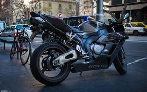 Обои хонда, honda, bike, cbr, Vinhman, supersport, 1000rr, улица, чёрный, фаерблейд, fireblade, black