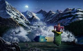 Обои палатка, лавина, заяц, горы, спальный мешок, арт, парень