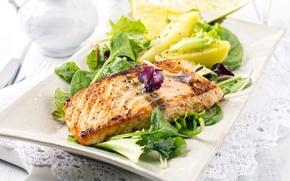 Обои листья, лимон, рыба, lemon, салат, fish, salad