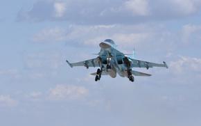 Картинка облака, бомбардировщик, посадка, шасси, фронтовой, Fullback, Су 34