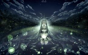 Картинка небо, вода, девушка, облака, природа, светлячки, аниме, арт, vocaloid, hatsune miku, kimven