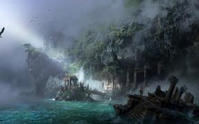 Картинка море, город, фентези, скалы, берег, арт, ling xiang