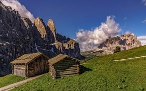 Картинка горы, дом, склон, Доломитовые Альпы