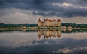 Картинка гроза, озеро, отражение, storm, lake, reflection, Саксония, Saxony, Замок Морицбург, thunderstorm, Сказка замок, Moritzburg, Schloss …
