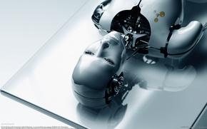 Обои стол, белый, лицо, Робот
