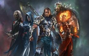 Картинка огонь, меч, воин, Герои, маг, вампир, топор, варвар