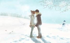 Обои нежность, двое, зима, первый поцелуй