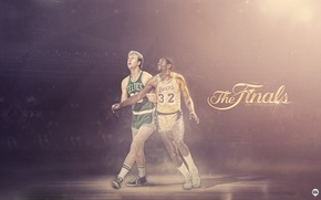 Картинка Спорт, Баскетбол, Boston, Los Angeles, NBA, Lakers, Celtics, Larry Bird, Легенды, Magic Johnson, Earvin Johnson, ...
