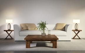 Картинка стол, диван, интерьер, современный, interior, sofa, table, стильный дизайн, stylish design, Contemporary, белый гостиной, white …