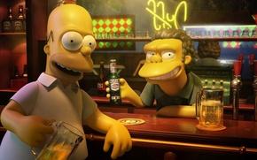 Обои Симпсоны, Гомер, Пиво, Бар, simpsons