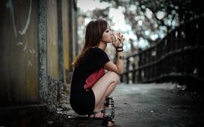 Картинка грусть, одиночество, мысли, Девушка