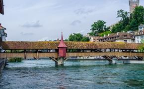 Картинка мост, река, Швейцария, галерея, Люцерн, башенка