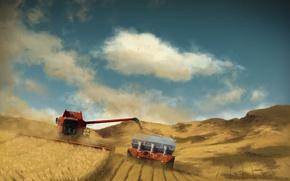 Картинка поле, урожай, комбайн