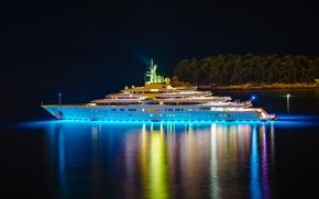 Картинка yacht, яхта, остров, роскошная, Eclipse, мега, огни, ночь, деревья.
