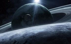 Картинка космос, Сатурн, спутники