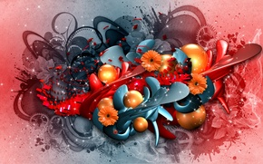 Картинка цветы, абстракция, коллаж, графика, рендер, hq wallpaper