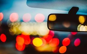 Картинка car, машина, макро, город, огни, отражение, фон, widescreen, обои, размытие, зеркало, wallpaper, автомобиль, широкоформатные, background, …