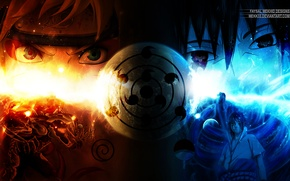 Картинка naruto, шаринган, светлые волосы, uchiha sasuke, uzumaki naruto, чёрные волосы, девятихвостый лис