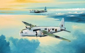 Картинка war, art, aviation, ww2, painiting, Vickers Wellington GR.Mk XIV British Bomber