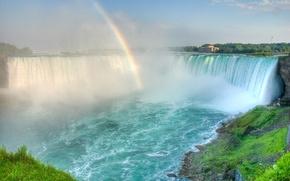 Картинка водопад, радуга, дымка, шум