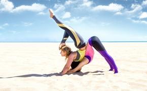 Картинка sand, pose, yoga, elongation