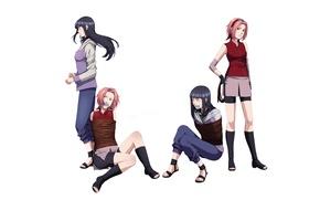 Картинка девушки, веревки, наруто, ниндзя, Naruto, соперничество, Sakura Haruno, путы, Hinata