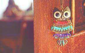 Картинка сова, птица, подвеска