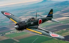 Обои A6M3 Zero, палубный, истребитель, японский