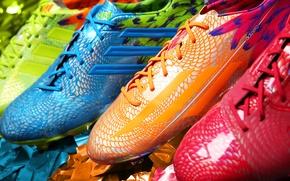 Картинка футбол, краски, супер, adidas, новинка, бутсы, радужные цвета, adizero