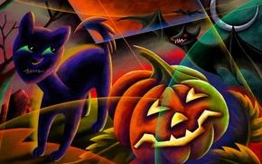 Картинка ночь, луна, кладбище, тыква, затмение, летучая мышь, черный кот, Happy Halloween, светильник джека