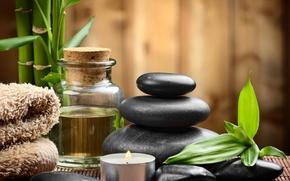 Картинка камни, спа, stones, bamboo, candles, spa, zen
