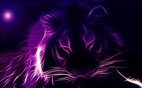 Картинка морда, тигр, 3D графика