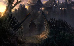 Картинка деревья, мост, азия, забор, деревня, воин