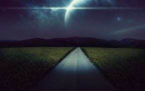 Картинка дорога, поле, звезды, ночь, рендеринг, планеты