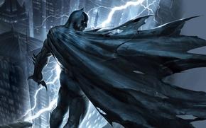 Картинка крыша, ночь, город, молния, маска, арт, костюм, Batman, The Dark Knight Returns