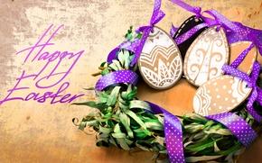 Картинка ленты, дерево, праздник, надпись, яйца, Пасха, гнездо, фигурки, Easter