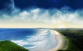 Обои волны, облака, берег