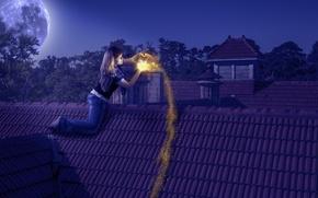 Картинка девушка, свет, ночь