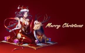 Картинка взгляд, девушка, шапка, олень, подарки, коврик, красный фон, Merry Christmas